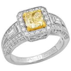 Fancy Yellow Radiant Diamond 18 Karat Two-Tone Gold Solitaire Ring