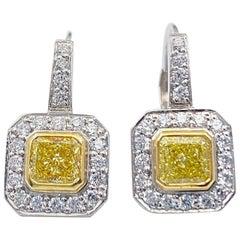 Fancy Yellow Radiant Diamond Bezel Set Halo Earrings 14 Karat White Yellow Gold