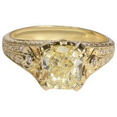 Fancy Yellow Radiant Diamond Ring in 18 Karat Yellow Gold SI1 1.71 Carat