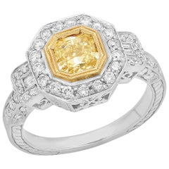 Fancy Yellow Radiant Diamond Solitaire 18 Karat Two-Tone Gold Ring