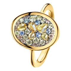 Fancy Yellow Rose-Cut, Lemon Yellow, Pink Diamond No Heat Blue Sapphire Ring