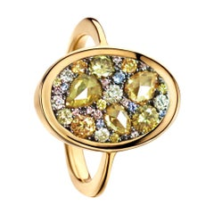 Fancy Yellow Rose-Cut, Yellow, Pink Diamond No Heat Blue Sapphire Mosaic Ring