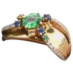 Fancy Yellow Sapphire Diamond Green Tsavorite Yellow Gold Pinkie Ring for Her
