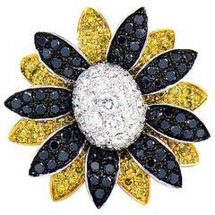 Fancy Yellow, White and Black Diamond Flower Ring