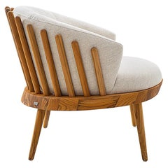 Fane Upholstered Armchair in Teak Finish and Ivory Fabric