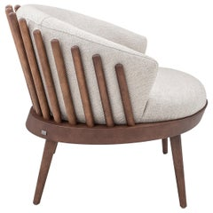 Fane Upholstered Armchair in Walnut Finish and Off-White Fabric