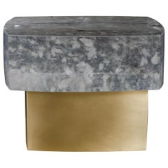 Fang Bei Side Table, Crystal and Brass by Robert Kuo, Handmade
