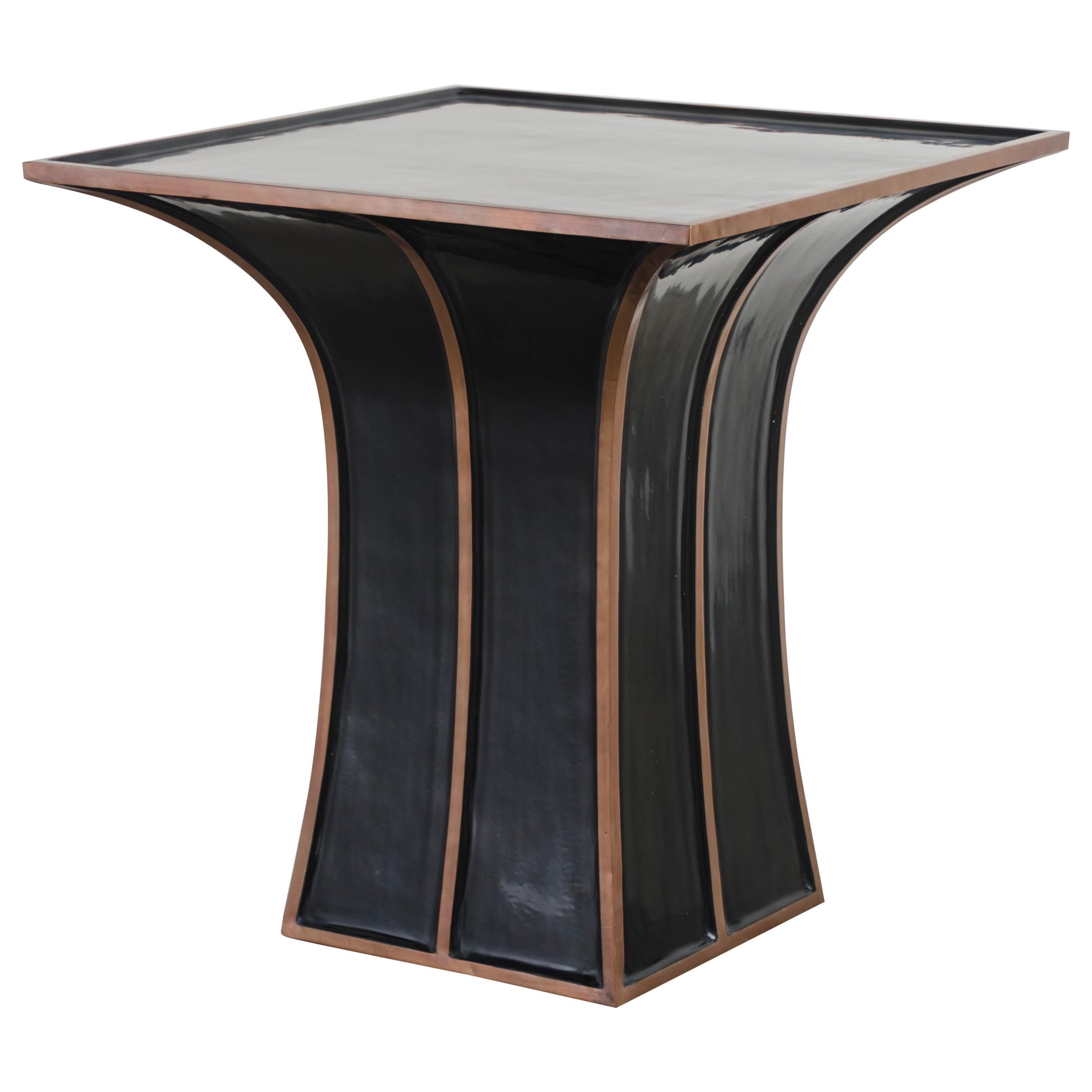 Fang Gu Table, Black Lacquer with Copper by Robert Kuo, Hand Repousse, Limited