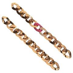 Fani Gioielli Vintage Ruby Diamond Pair Bracelets Convertible Necklace Rose Gold