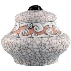 Fanny Garde for Bing & Grøndahl, Art Nouveau Lidded Jar in Crackled Porcelain