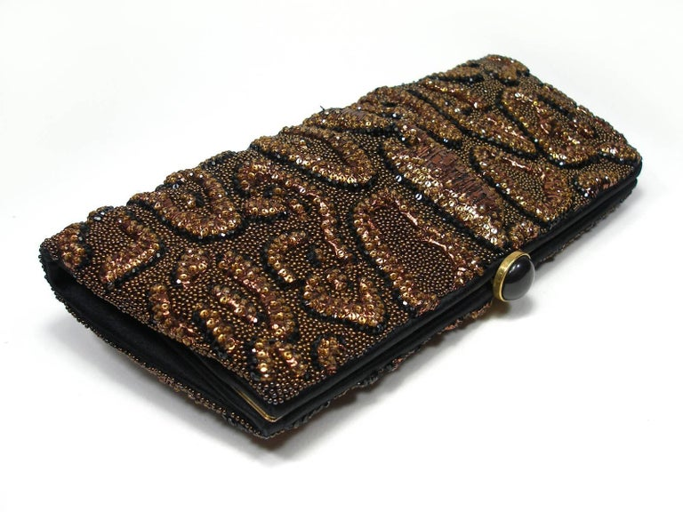 Black Fantastic & Collectible Era Tom Ford for YSL Beaded and Sequins Clutch  For Sale