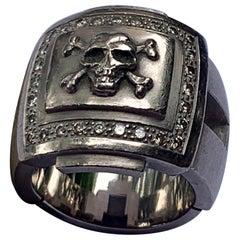 Fantastic 18 Karat White Gold Diamond Skull Ring by Christophe Graber Zurich