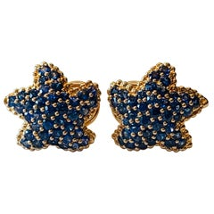 Fantastic 18 Rose Gold Blue Sapphire Starfish Earrings