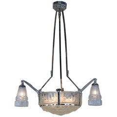 Fantastic 1920s French Art Deco Chandelier by J. Robert