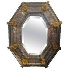 Fantastic 19th Century Venetian Mirror in Rare Colors