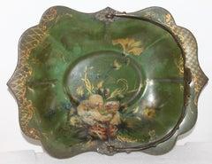 Fantastic 19th Century Hand Painted Enamel Basket