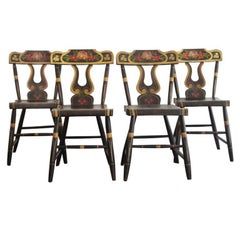 Fantastic 19thc Original Paint Decorated Chairs From Pennsylvania