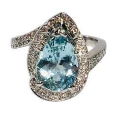 Fantastic 2.6 Carat Pear Cut Aquamarine Diamond Modern Swirl 18 Karat Ring