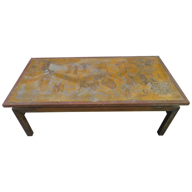 Fantastic Acid Etched Asian Inspired Coffee Table By Phillip And Kelvin Laverne For