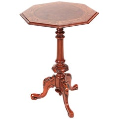 Fantastic Antique Victorian Inlaid Burr Walnut Wine or Lamp Table