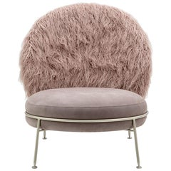 Fantastic Armchair Greige Leather Alba Pink Faux Fur Champagne Satined Finish
