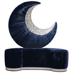 Fantastic Artistic Sofa Decorative Moon on Back in Silk Velvet and Mosaic