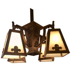 Fantastic Arts & Crafts Hammered Brass and Art Glass Chandelier