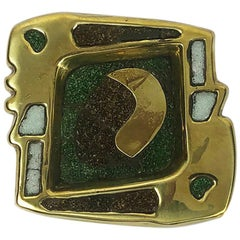 Fantastic Ashtray 100% Handmade in Brass and Precious Stone Inlay