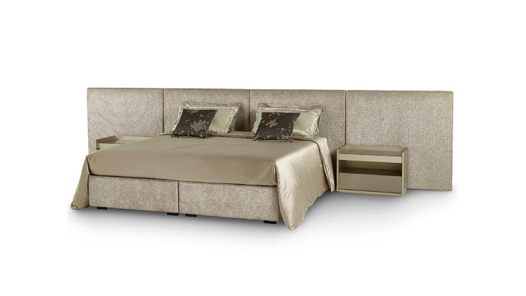 Italian Fantastic Bed Headboard and Bed Frame in Plywood Available in Fabric or Leather For Sale
