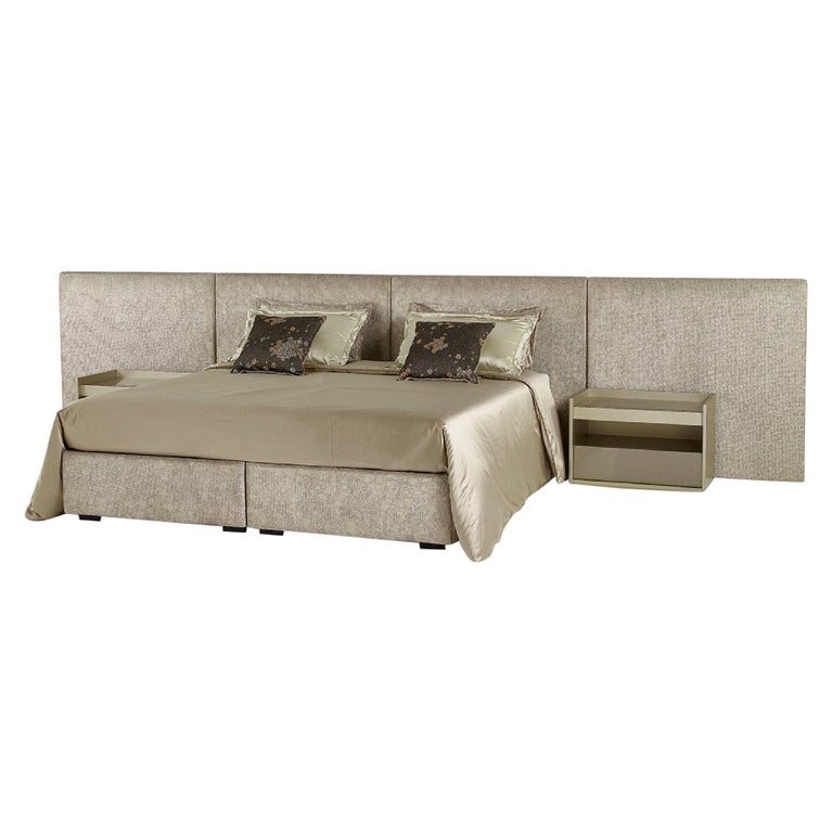 Fantastic Bed Headboard and Bed Frame in Plywood Available in Fabric or Leather For Sale