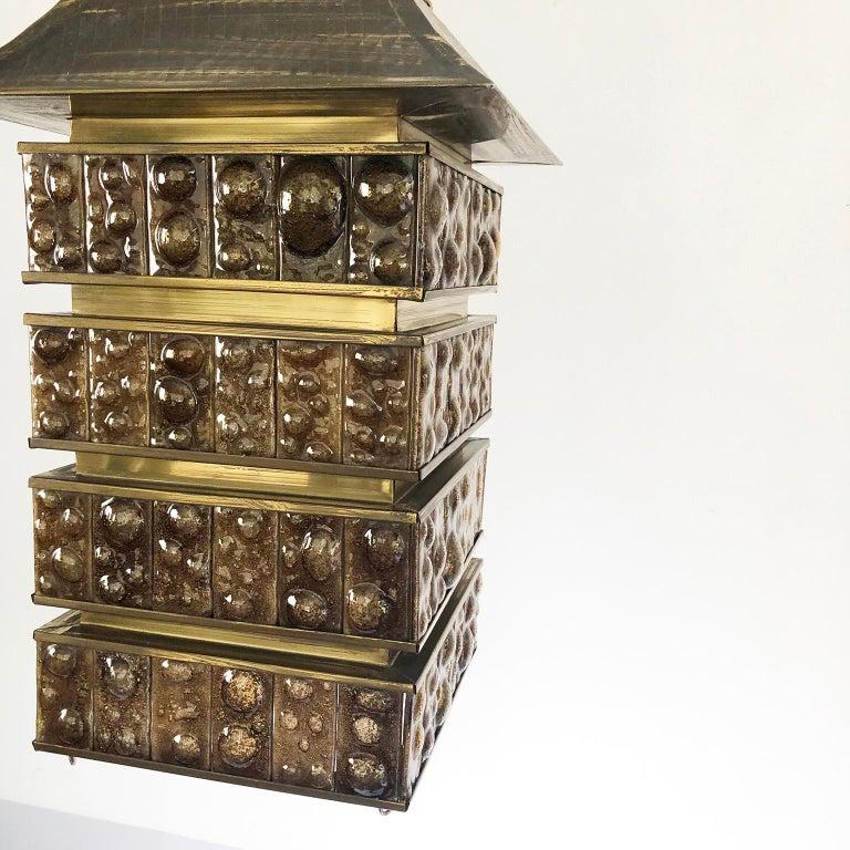 Mid-Century Modern Fantastic Big Chandelier in Pagoda Shape by Feders For Sale