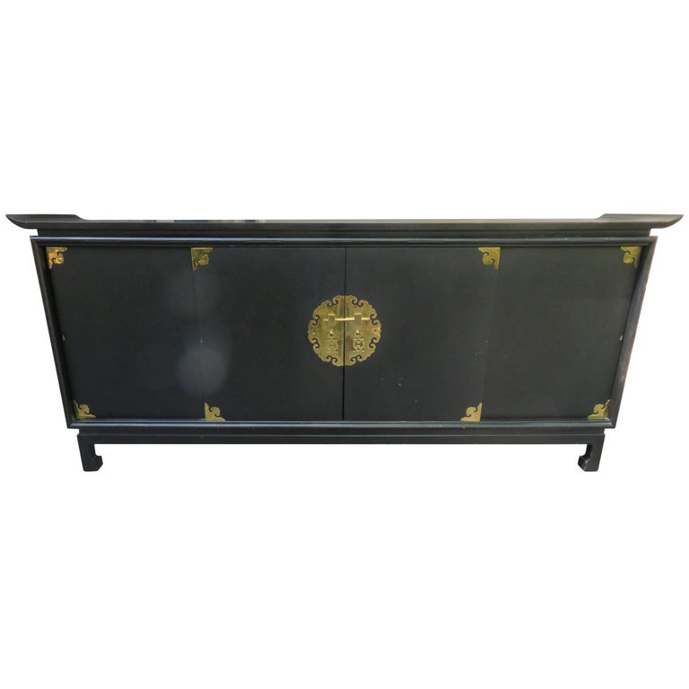 fantastic black lacquered chinoiserie stereo cabinet credenza mid-century  modern