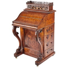 Fantastic Burr Walnut Piano Top Davenport