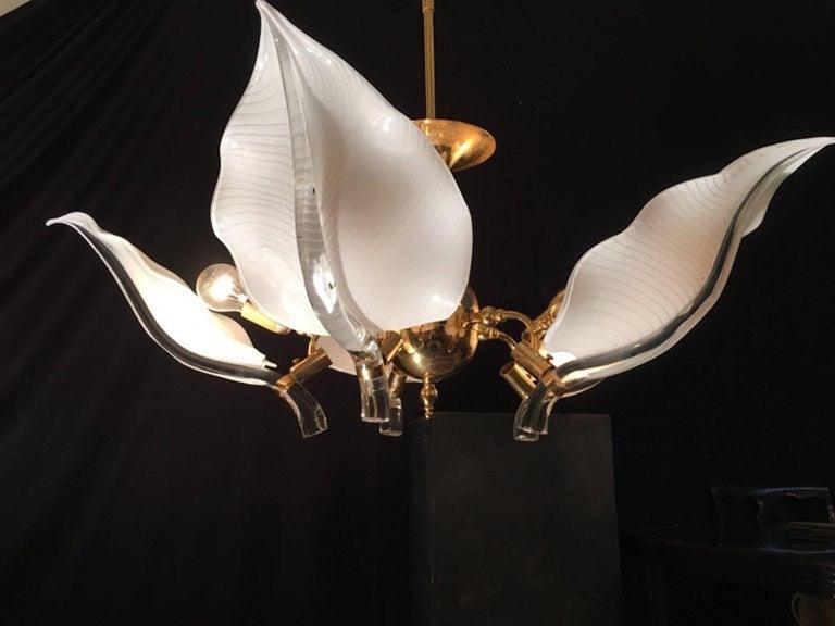 Brass Fantastic Chandelier Franco Luce for Seguso, Murano, 1970s For Sale