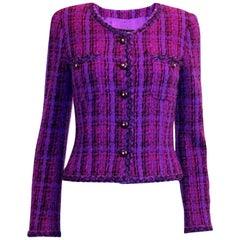Fantastic Chanel Purple Lesage Fantasy Fringe Tweed Jacket Blazer