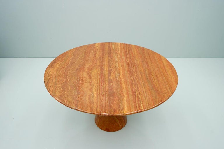 Italian Fantastic Circular Red Brown Marble Dining Table, Italy, 1970 For Sale
