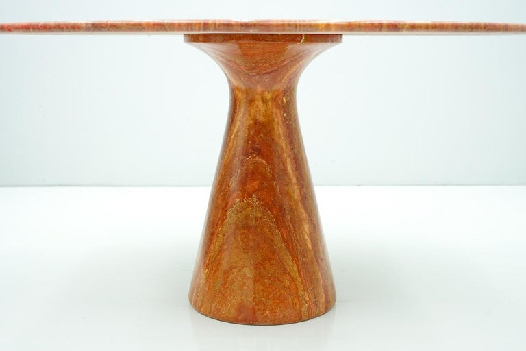 Late 20th Century Fantastic Circular Red Brown Marble Dining Table, Italy, 1970 For Sale