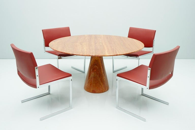 Fantastic Circular Red Brown Marble Dining Table, Italy, 1970 For Sale 3