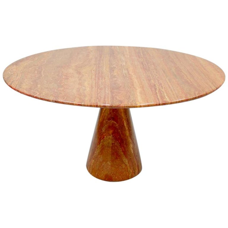 Fantastic Circular Red Brown Marble Dining Table, Italy, 1970 For Sale