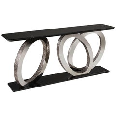Fantastic Console with Base and Marble Top Rings in Bronze or Chrome Finish