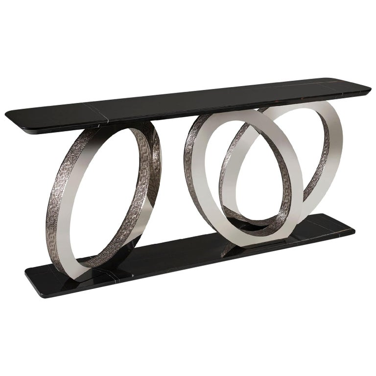 Fantastic Console with Base and Marble Top Rings in Bronze or Chrome Finish For Sale