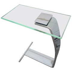 Fantastic DIA Chrome Glass Cigarette Side Table Mid-Century Modern