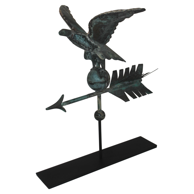 Fantastic Diminutive 19thc Rare Eagle Full Body Weather Vane on Stand