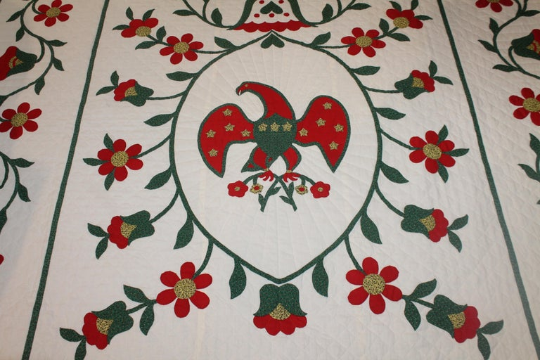 Folk Art Fantastic Eagle Applique Quilt with a Swag Border