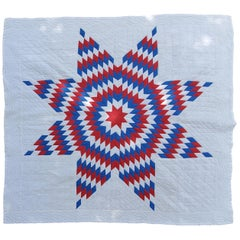 Fantastic Early 20thc Patriotic Star Quilt
