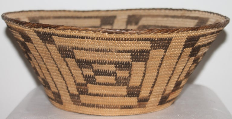 Fantastic early 20thc Pima Indian geometric basket in pristine condition.