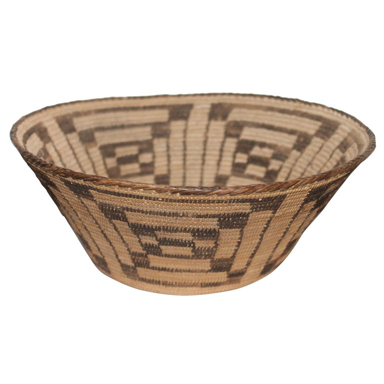 Fantastic Early 20thc Pima Indian Basket For Sale