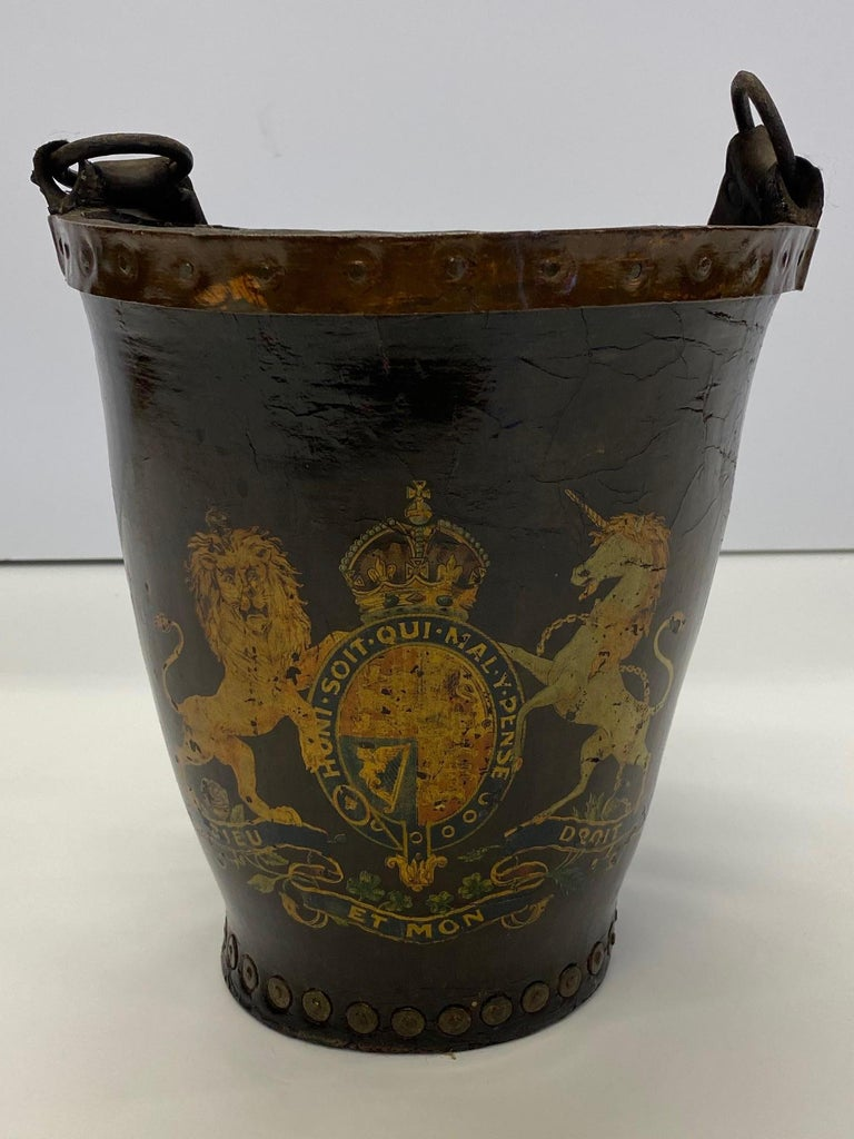 Fantastic Early English Hand Painted Leather Fire Bucket For Sale 2