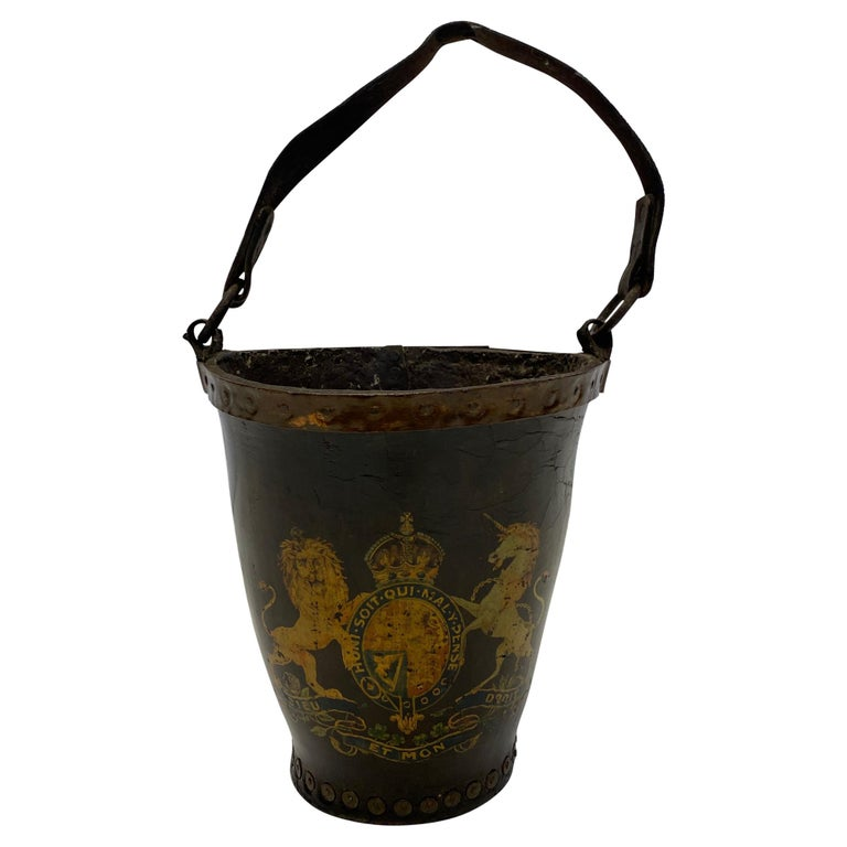 Fantastic Early English Hand Painted Leather Fire Bucket For Sale