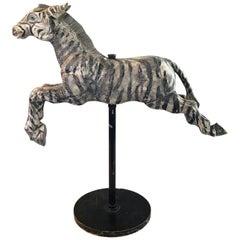 Fantastic Folk Art Large Carved Wood Carousel Zebra